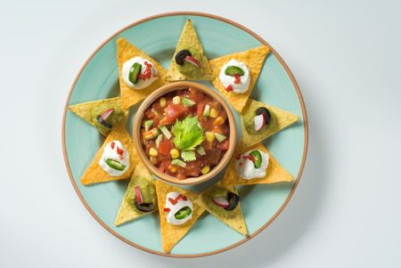 corn chips: Tortilla chips and a bowl of salsa  Stock Photo