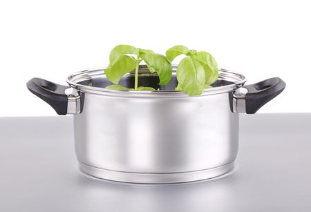 Fresh herb in a shiny stainless steel pot photo
