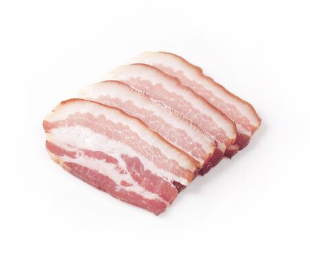 thinly: Studio shot of thinly sliced bacon