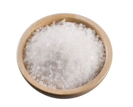 Sea salt in a wooden bowl isolated on white Stock Photo - 5268792