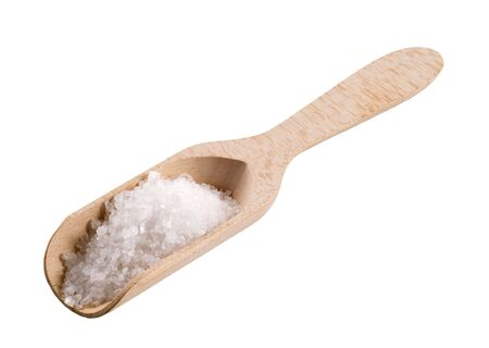 Sea salt on a wooden scoop isolated on white Stock Photo - 5268879