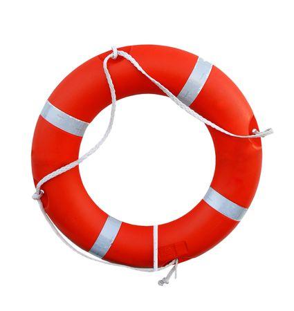 Orange life buoy isolated on white background photo