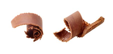 Two chocolate curls isolated on white background photo