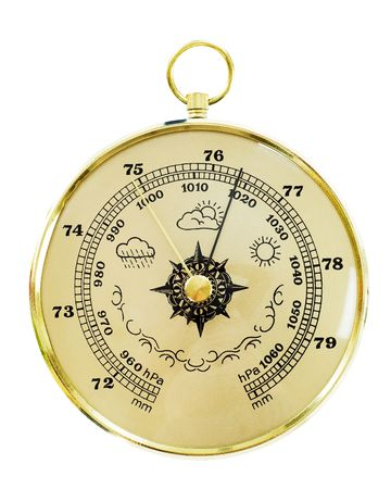 atmospheric pressure: Closeup of an old barometer isolated on white  Stock Photo