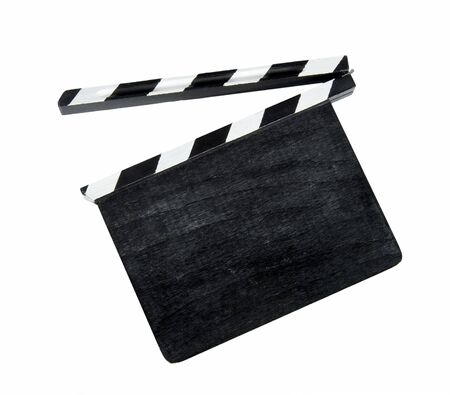 clapper: Film clap board isolated on white background