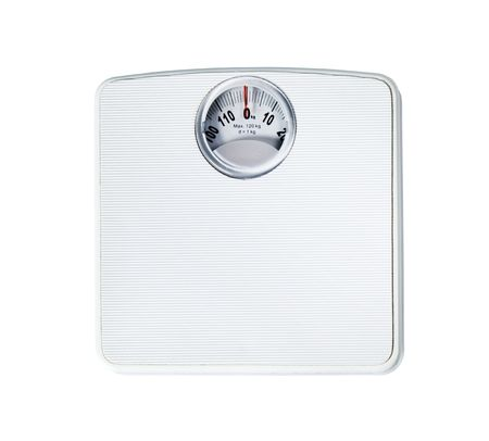 Bathroom scale isolated on white  photo