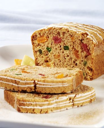 fruitcake: Detail of a fruitcake - two slices cut off