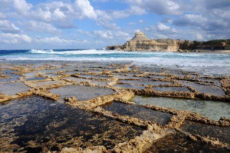 Salt evaporation ponds off the coast of Gozo  photo