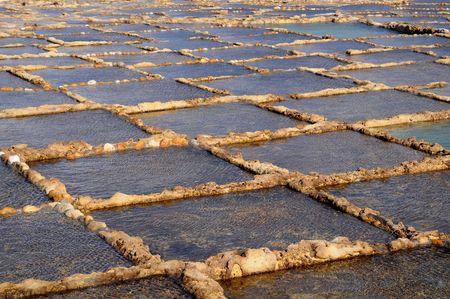 evaporacion: Los estanques de evaporaci�n de sal Foto de archivo