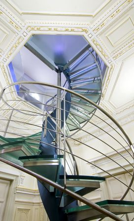 architectural styles: Modern spiral staircase, contrast of architectural styles