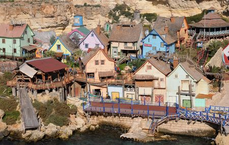 rickety: Popeye Village, Anchor Bay, Malta  Stock Photo