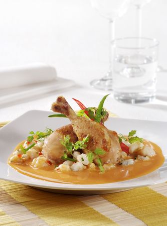 paprika: Roast Chicken Legs in Paprika Cream Sauce