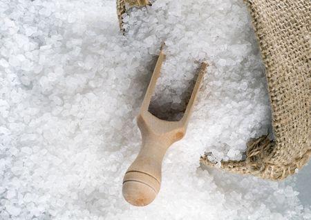 Detail of sea salt in a burlap sack Stock Photo - 5286434