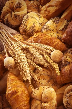 Variety of fresh bread and pastry  photo