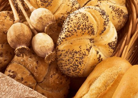 flax seed: Fresh kaiser rolls and flax seed rolls  Stock Photo