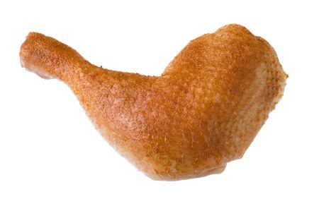 Seasoned chicken quarter isolated on white background photo