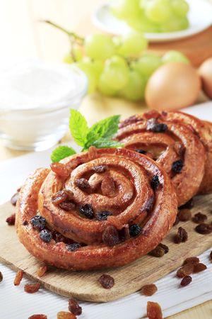 Crisp Danish pastries with raisins - closeup photo