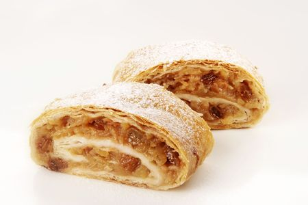 filo pastry: Two slices of tasty Apple strudel - studio Stock Photo