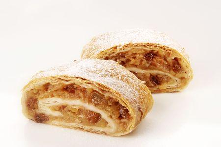 filo pastry: Two slices of tasty Apple strudel - studio Stock Photo