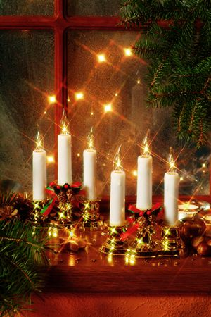 artificial light: Christmas decoration on window