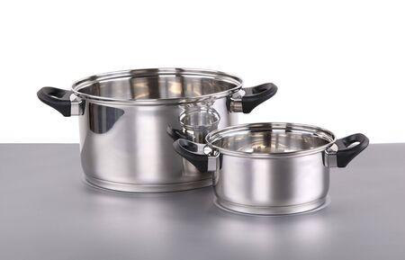 stockpot: Shiny stainless steel pots  Stock Photo