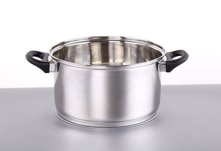 steel pan: Shiny olla de acero inoxidable Foto de archivo
