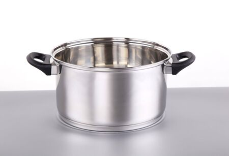 stockpot: Shiny stainless steel pot  Stock Photo