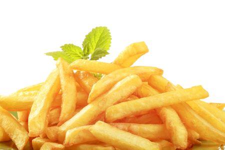accompagnement: Tas de frites croquantes fran�ais Banque d'images