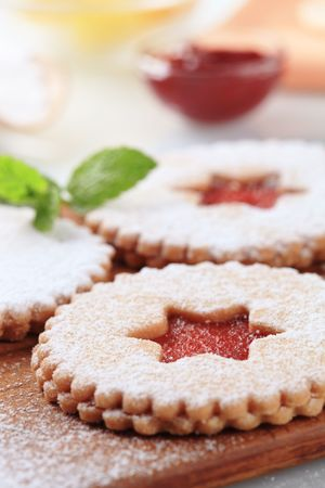 shortbread: Shortbread cookies with jam filling - detail