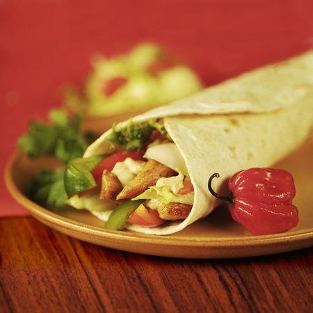 tortilla wrap: Wrap de pollo y tortilla de vegetales Foto de archivo
