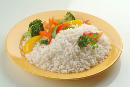 plateful: Plateful of Boiled Rice with Vegetables