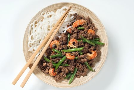 Minced meat with prawns, string beans and rice noodles  photo