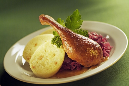 Roast Duck, Red Cabbage and Dumplings