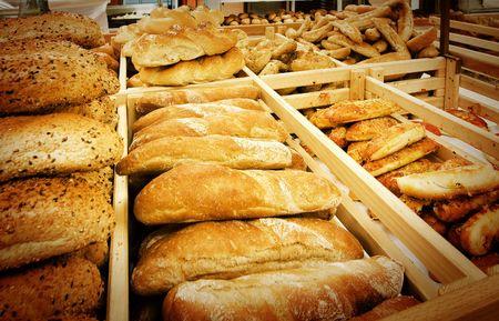 Assortment of fresh bread in a supermarket photo