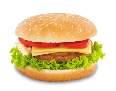 One cheeseburger isolated on white Stock Photo - 5441670