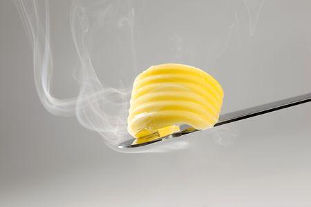 spreading: Butter melting in hot steam