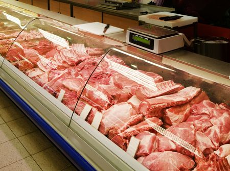 meat counter: Selection of quality meat at a butcher shop