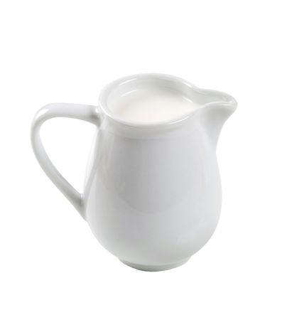 Jug of fresh milk isolated on white