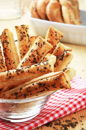 caraway: Crispy snacks with caraway seeds on top