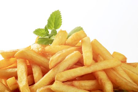 chips: Heap of freshly fried French fries