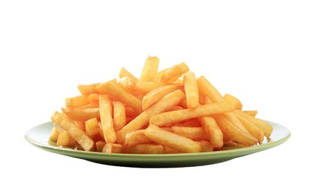 Heap of French fries on a green plate photo