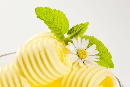 Macro of curls of fresh butter