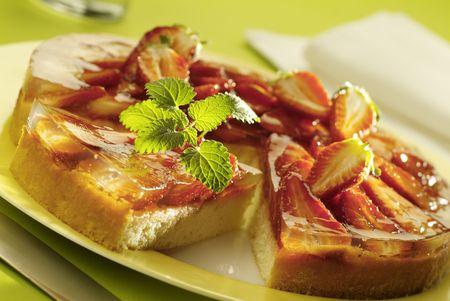 gelatine: Strawberry flan Stock Photo