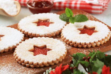 Shortbread cookies with jam filling  photo