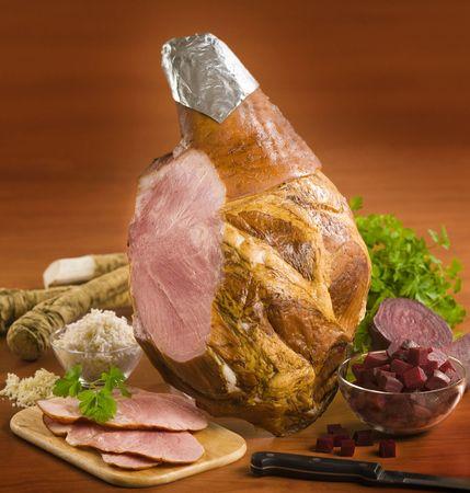 Leg of smoked ham  photo