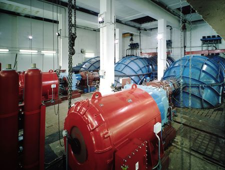 generators: Interior of a hydroelectric plant