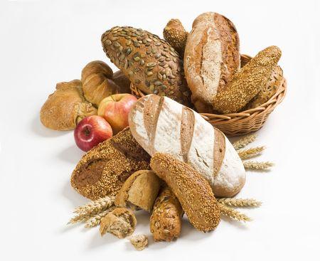 canasta de panes: Varios tipos de pan Moreno