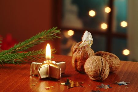 nut shell: Christmas still life - Surprise in a walnut shell
