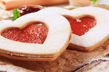 Heart shaped shortbread cookies  photo