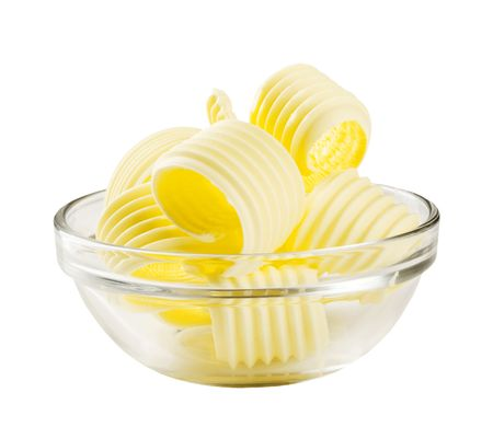 Butter curls in a glass bowl Stock Photo - 5631364